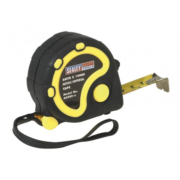 Sealey Rubber Measuring Tape 5mtr(16ft) x 19mm Metric/Imperial - AK989