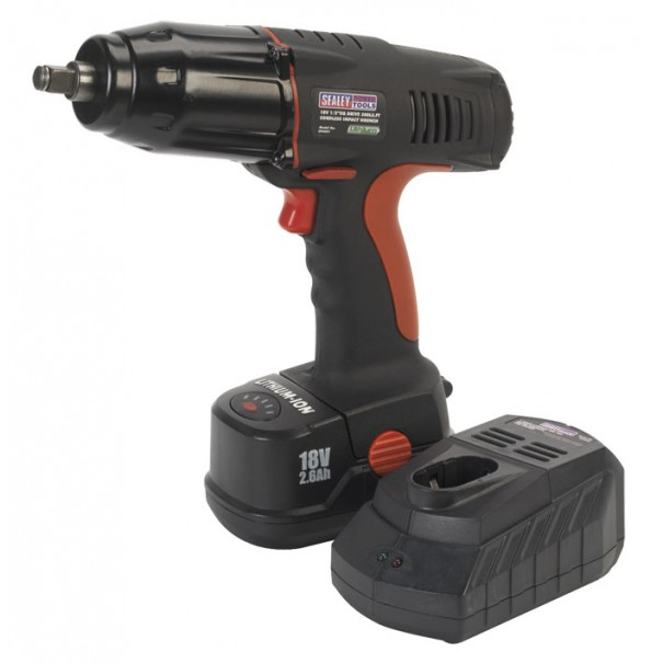 "Sealey Cordless Lithium-ion Impact Wrench 18V 1/2""Sq Drive 300lb.ft with Battery & Charger - CP50COMBO1"