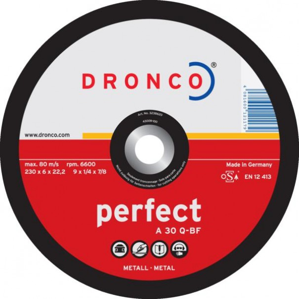 """4 1/2"""" DRONCO Depressed Centre Grinding Disc (O.d 115 x Thickness 6.0 x Hole Dia 22.23mm) - DGD4A"""