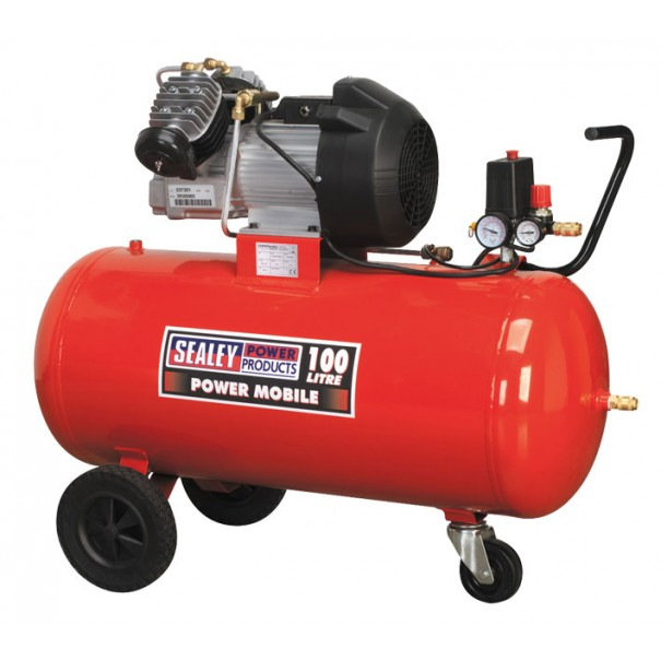 Sealey Compressor 100ltr V-Twin Direct Drive 3hp - SAC10030