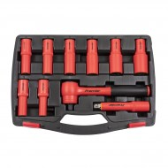 """Insulated Socket Set 10pc 1/2""""Sq Drive 6pt WallDrive® VDE Approved"""