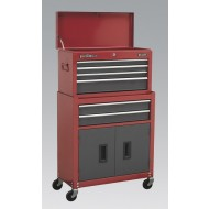 SEALEY Topchest & Rollcab Combination 6 Drawer with Ball Bearing Runners - Red/Grey - AP2200BB