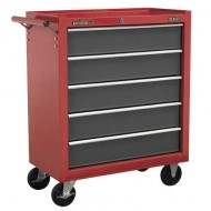 Rollcab 5 Drawer with Ball Bearing Runners - Red/Grey - AP22505BB