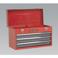 Tool Chest 3 Drawer Portable with Ball Bearing Runners - Red/Grey - AP9243BB