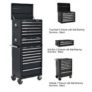 Topchest, Mid-Box & Rollcab Combination 14 Drawer with Ball Bearing Runners - BLACK - APSTACKTB