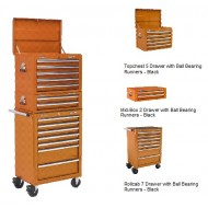 Topchest, Mid-Box & Rollcab Combination 14 Drawer with Ball Bearing Runners - ORANGE - APSTACKTO