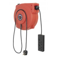 Sealey Cable Reel System Retractable 15mtr 2 x 230V Socket - CRM15