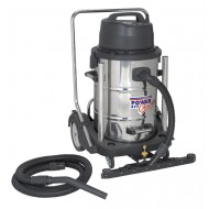 Sealey Industrial Wet & Dry Vacuum Cleaner 77ltr Stainless Drum 2400W/230V Swivel Bin Empty - PC477