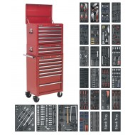 Tool Chest Combination 14 Drawer with Ball Bearing Runners - Red & 1179pc Tool Kit - SPTCOMBO1