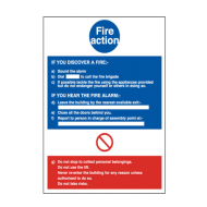 """Fire Action"" Sign 240 x 360mm - YFB006F"